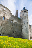 Parete e torre medievali con l'orologio Fotografie Stock Libere da Diritti