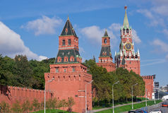 Parete e torrette di Mosca Kremlin Fotografie Stock Libere da Diritti