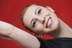 Parete felice di Practicing Against Red del ballerino di balletto Immagine Stock Libera da Diritti