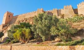 Parete fortificata del Alcazaba Fotografia Stock Libera da Diritti