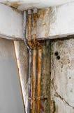 Parete fungosa della muffa del vecchio tubo Fotografie Stock