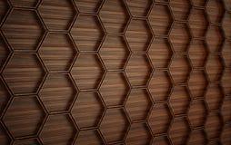Parete futuristica di legno di Abstact 3d rendono illustrazione di stock