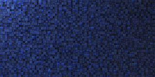 parete grungy irregolare del mosaico 3d in blu profondo Fotografia Stock