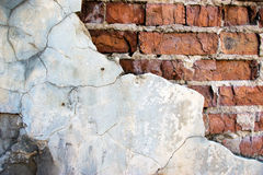 parete incrinata mattone Fotografia Stock Libera da Diritti