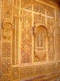 Parete intagliata a Jaisalmer, Ragiastan fotografia stock