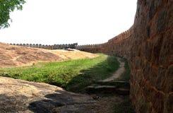 Parete lunga della fortificazione Fotografia Stock