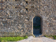 Parete medievale con una porta Immagini Stock Libere da Diritti