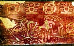 Parete murala bevente Teotihuacan Città del Messico di tequila della pittura antica Fotografia Stock