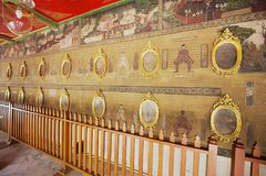 Parete murala di arte che dimostra il punto importante di massaggio al monastero di Wat Pho a Bangkok, Tailandia Fotografia Stock