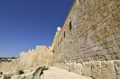Parete occidentale a vecchia Gerusalemme. Fotografia Stock