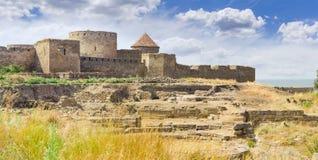 Parete orientale della fortezza di Akkerman, Ucraina Immagine Stock