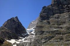Parete orientale della montagna di Eiger Fotografie Stock Libere da Diritti