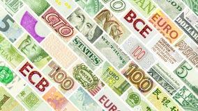 Parete principale della diagonale di quattro valute del mondo Immagini Stock