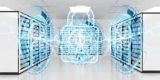 Parete refrattaria attivata sulla rappresentazione del centro dati 3D della stanza del server Fotografia Stock Libera da Diritti
