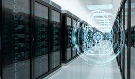 Parete refrattaria attivata sulla rappresentazione del centro dati 3D della stanza del server Immagini Stock Libere da Diritti