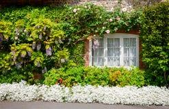 Parete ricoperta di paglia inglese tradizionale della casa con la decorazione i del fiore Fotografia Stock Libera da Diritti