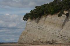 Parete rocciosa geologica sulla spiaggia Immagini Stock Libere da Diritti