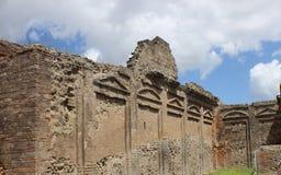 Parete romana antica del giardino a Pompei, Italia Fotografia Stock Libera da Diritti