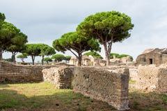 Parete in rovine di antica di Ostia Fotografia Stock Libera da Diritti