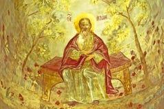 Parete russa dell'icona di secolo dell'affresco XVI della chiesa di ortodossia che dipinge scena iconografica Fotografie Stock Libere da Diritti
