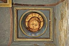 Parete russa dell'icona di secolo dell'affresco XVI della chiesa di ortodossia che dipinge scena iconografica Immagini Stock Libere da Diritti