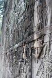 Parete scolpita a Angkor Wat Fotografie Stock Libere da Diritti