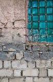 Parete strutturata con la finestra Fotografia Stock Libera da Diritti
