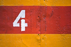 Parete verniciata gialla e rossa del metallo Fotografia Stock Libera da Diritti