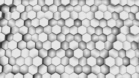 Parete verticale della griglia a nido d'ape ogni pezzo esagonale di modello geometrico stock footage