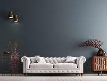 Parete vuota nell'interno classico di stile con il sofà bianco sulla parete grigia del fondo illustrazione vettoriale