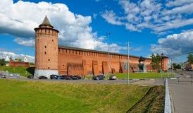 Pareti antiche del Cremlino di Kolomna fotografia stock libera da diritti