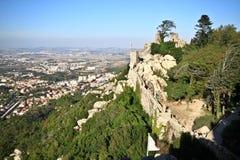 Pareti del castello del Moorish Immagine Stock Libera da Diritti