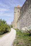Pareti del castello di Carcassonne fotografie stock libere da diritti