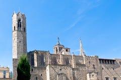 Pareti della cattedrale gotica di Barcellona fotografia stock