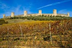 Pareti della città di Monteriggioni Fotografie Stock