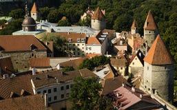 Pareti della città fortificate l'Estonia di Tallinn Fotografie Stock