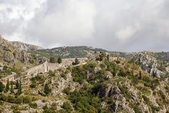 Pareti di Cattaro, Montenegro Immagine Stock Libera da Diritti
