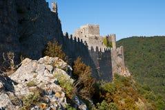 Pareti di nord di Puilaurens del chateau Immagini Stock Libere da Diritti