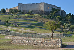 Pareti di pietra al castello Fuengirola di Sohail Fotografie Stock Libere da Diritti
