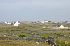 Pareti di pietra e case dell'isola dell'Irlanda Aran Immagini Stock Libere da Diritti