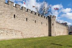 Pareti di un castello antico Immagine Stock