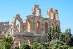 Pareti di vecchio Colosseum in Tunisia Fotografia Stock Libera da Diritti
