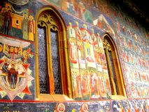 Pareti dipinte Monastero di Sucevita, Moldavia, Romania fotografia stock