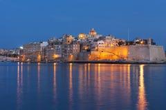 Pareti medievali fortificate di Malta Immagine Stock