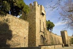 Pareti medioevali di Barcellona. Immagine Stock