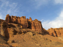 Pareti rosse del canyon Charyn (Sharyn) Immagini Stock Libere da Diritti