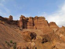 Pareti rosse del parco nazionale di Charyn del canyon (Sharyn) Fotografie Stock
