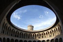 Pareti rotonde del castello di Bellver Fotografie Stock