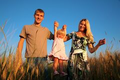 Paretns hold daughter from hands on wheaten field Royalty Free Stock Image