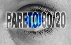 Pareto 80/20 ojo mira el fondo del concepto del espectador Fotos de archivo libres de regalías